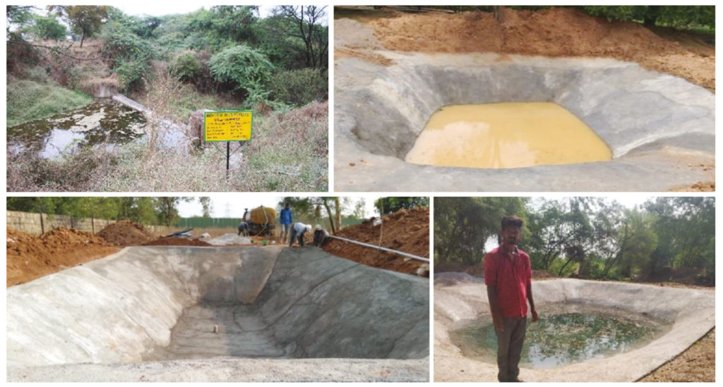 (Clockwise from top left): Newly constructed check dam and farm ponds in farmers' fields in Sangareddy district, Telangana State, India.
