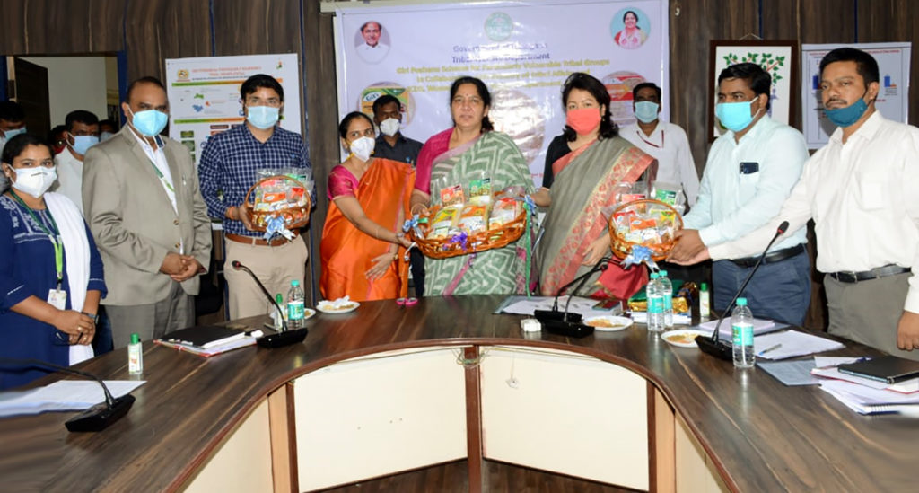 Food products created by ICRISAT for Giri Poshana for Particularly Vulnerable Tribal Groups (PVTGs). From L to R: Priyanka Durgalla, Senior Scientific Officer, ICRISAT; Aravazhi Selvaraj, COO, Innovation and Partnership Program, ICRISAT; Bhavesh Mishra, IAS, Project Officer, ITDA – Utnoor; Smt D Divya, IAS, Commissioner and Special Secretary to Government, Department of Women Development and Child Welfare; Smt Satyavathi Rathod, Minister for Scheduled Tribes Welfare, Women and Child Welfare, Telangana State; Dr Christina Z Chongthu, IAS, Commissioner and Secretary to Government, Tribal Welfare Department; Sri V Sarveshwar Reddy, Additional Director, Tribal Welfare Department; Sri P Kalyan Reddy, Joint Director, Tribal Welfare Department. Photo: Rajesh, Tribal Welfare Department