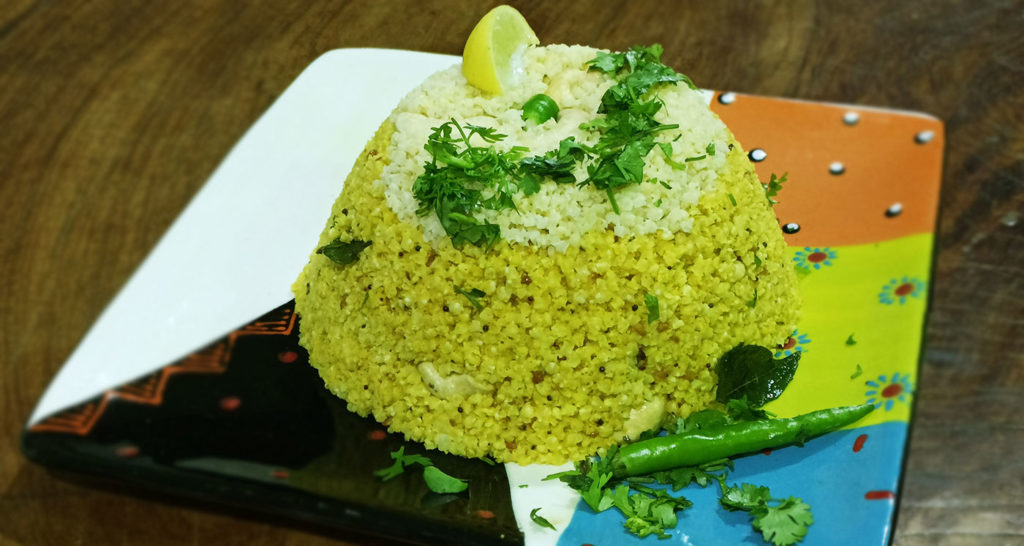 Millets can be prepared and eaten like rice. Shown here is proso millet cooked like rice in turmeric. Photo: Joanna Kane-Potaka