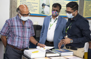 Dr Pingali browses through the Soil Atlas Map developed for Odisha state, India, at the Charles Renard Analytical Laboratory.
