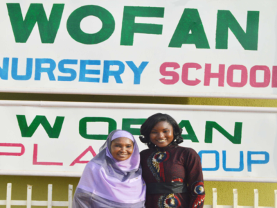 Mrs Salamatu Garba, Executive Director, Women Farmers Advancement Network (WOFAN), Nigeria (left) with Ms Agathe Diama, Regional Information Officer, West & Central Africa Program, ICRISAT.